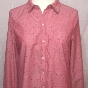 Old Navy Red Polka Dot Twill Cotton Button Shirt M